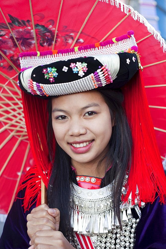 Lisu hilltribe girl, Chiang Mai Flower Festival, Chiang Mai, Thailand, Southeast Asia, Asia
