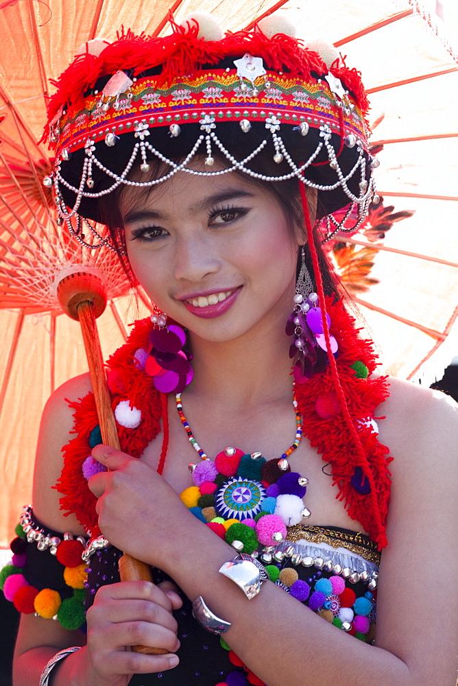 Hilltribe girl, Chiang Mai Flower Festival, Chiang Mai, Thailand, Southeast Asia, Asia