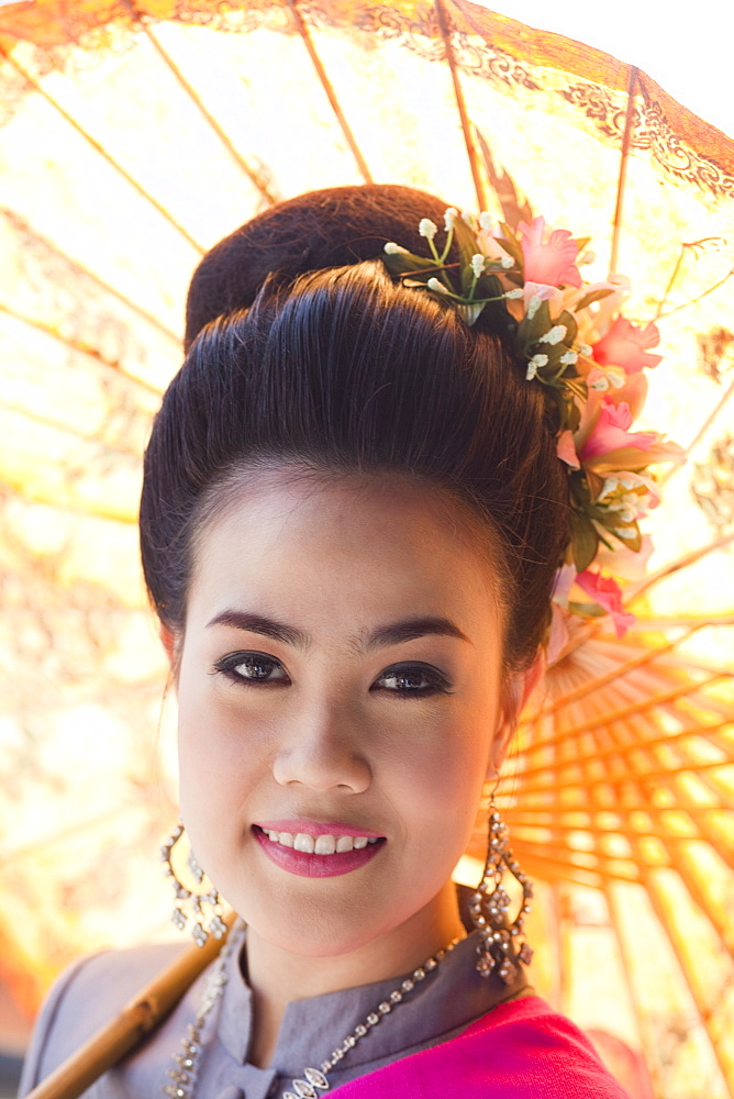 Beauty Queen in traditional Thai costume, Chiang Mai Flower Festival, Chiang Mai, Thailand, Southeast Asia, Asia