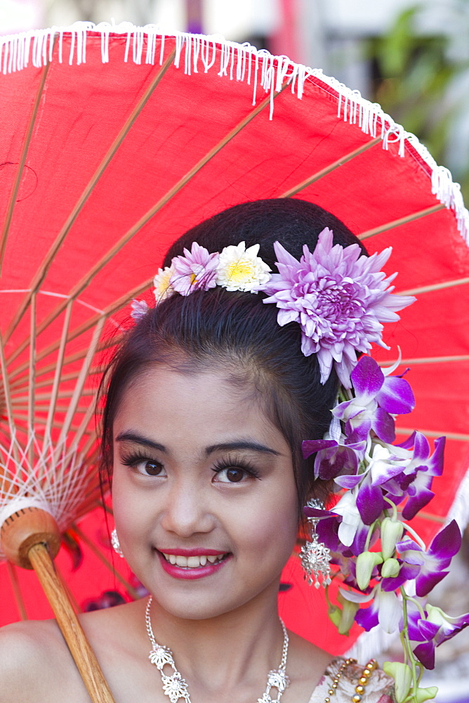 Portrait of a girl in traditional Thai dress, Chiang Mai Flower Festival, Chiangmai, Thailand, Southeast Asia, Asia