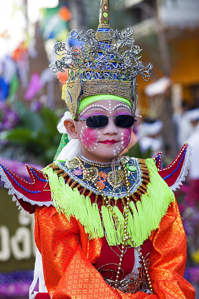 Portrait of boy in braditional Thai costume, Chiang Mai Flower Festival Chiang Mai, Thailand, Southeast Asia, Asia