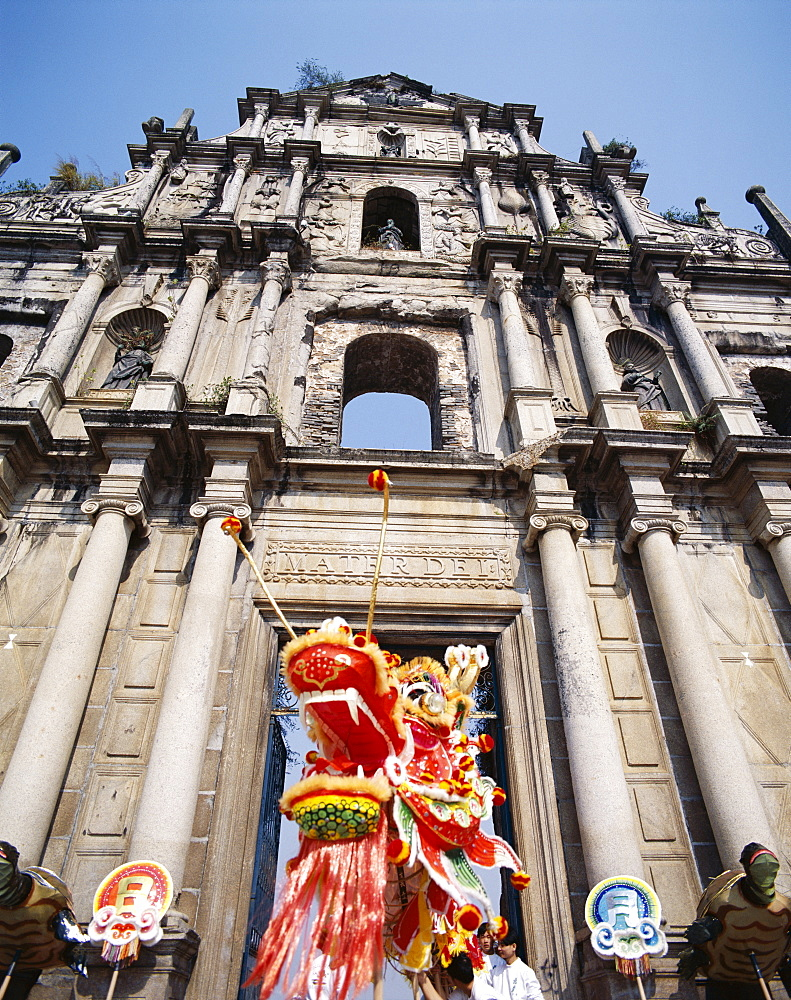 Chinese New Year Dragon Dance, Sao Paulo Church, UNESCO World Heritage Site, Macau China, Asia - 834-2156