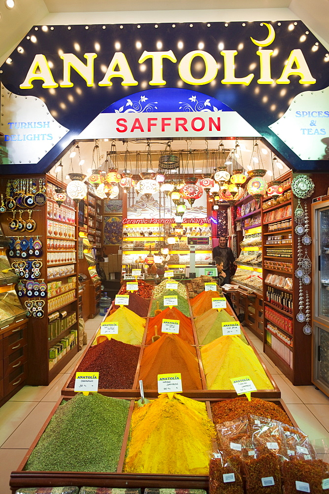 Typical shop in the Spice Bazaar, Sultanahmet, Istanbul, Turkey, Europe - 834-2310