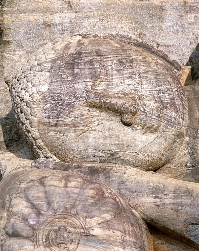 Reclining Buddha statues, Gal Vihara, Polonnaruwa, UNESCO World Heritage Site, Sri Lanka, Asia
