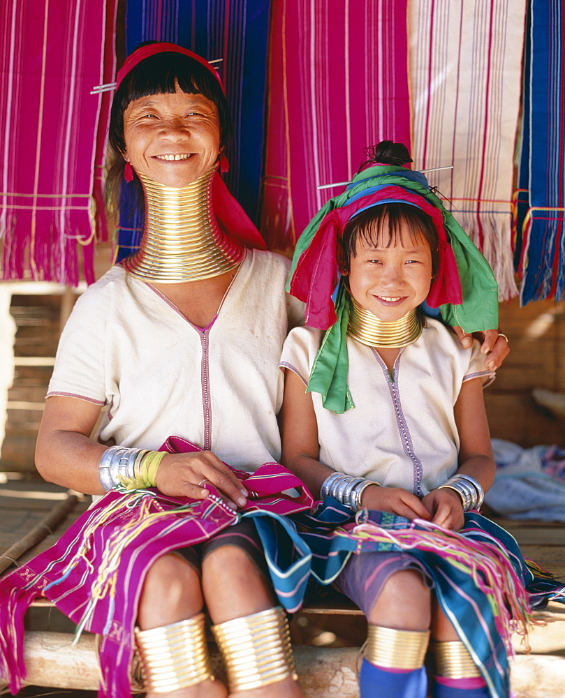 Long-neck mother and daughter, Padaung tribe, Mae Hong Son, Golden Triangle, Thailand, Southeast Asia, Asia