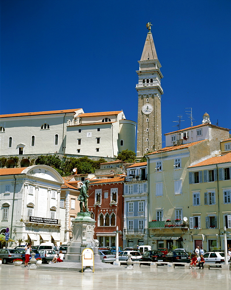 Town Square and Clock Tower, Piran, Primorska Region, Slovenia, Europe