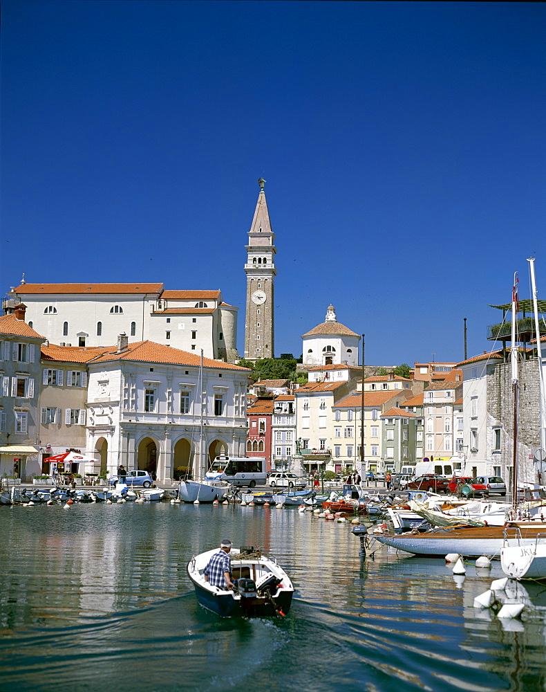 Town and harbour, Piran, Primorska Region, Slovenia, Europe
