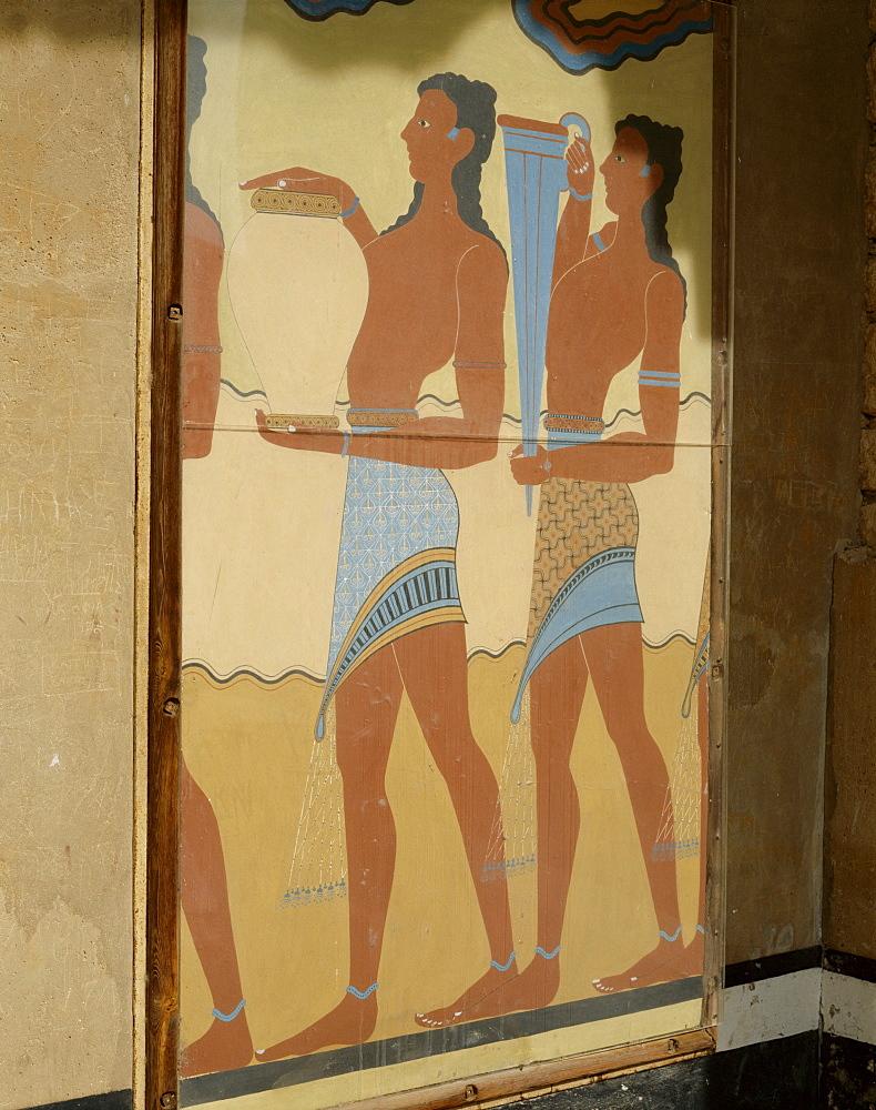 Procession fresco, Palace of Knossos, Knossos, Crete (Kriti), Greece, Europe