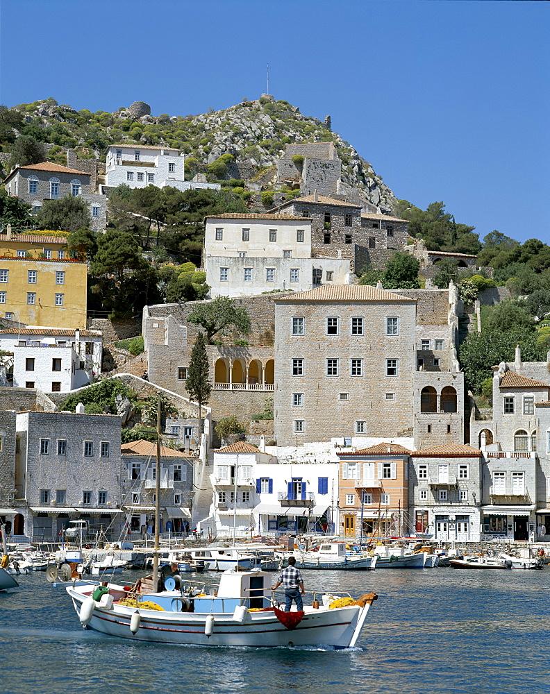 Town and harbour, Hydra (Ydra), Argo-Saronic Islands, Greek Islands, Greece, Europe