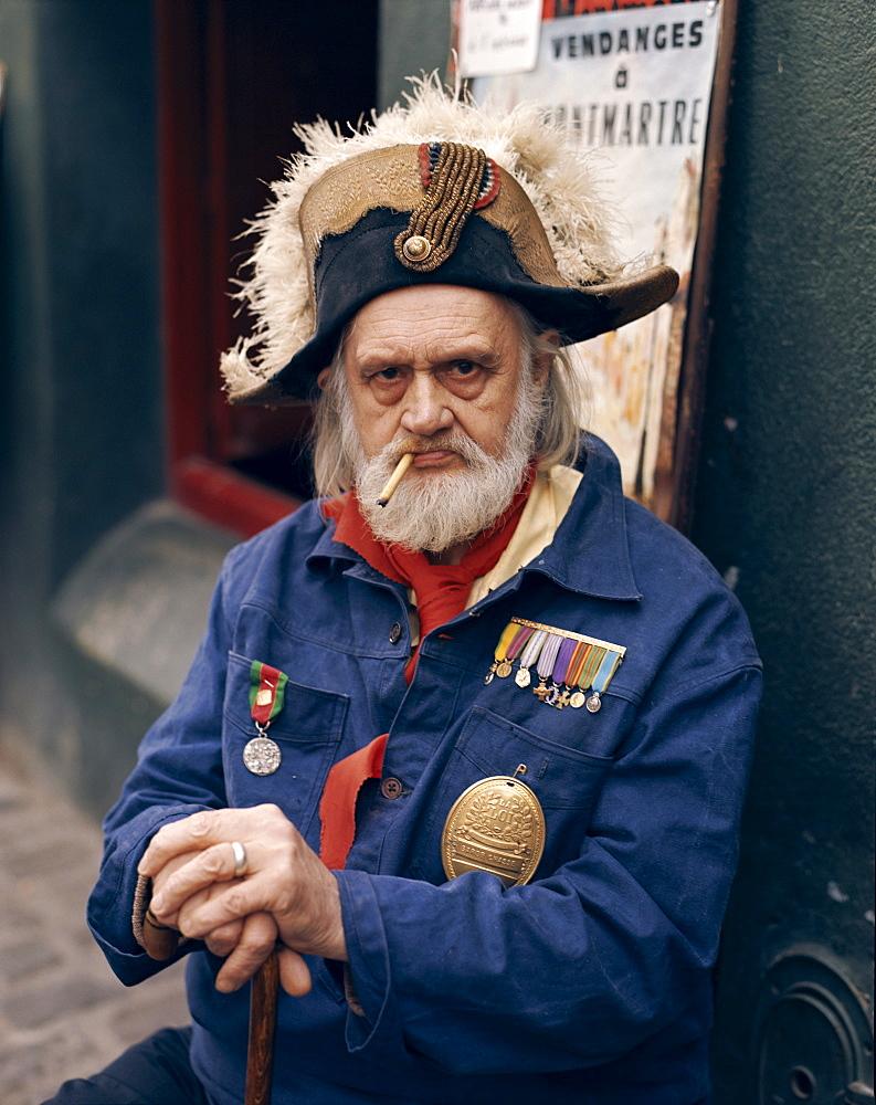 Man dressed in costume, Montmartre, Paris, France, Europe