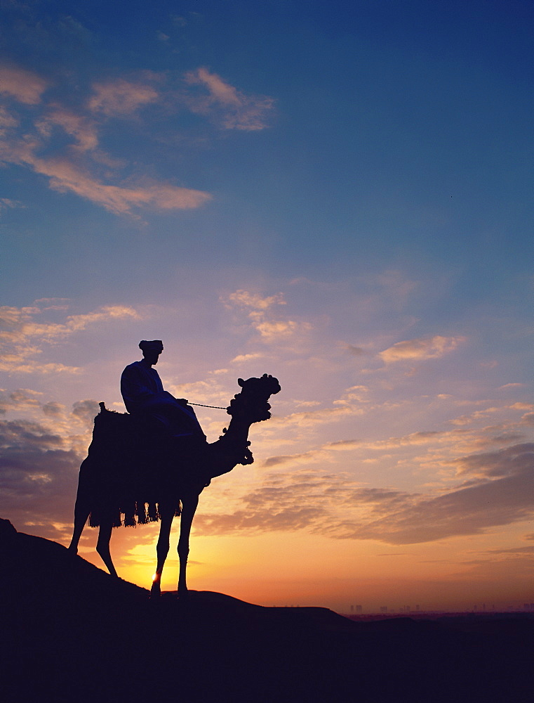 Man on camel at sunrise, Giza, Egypt, North Africa, Africa