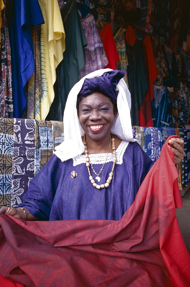 Batik vendor, Albert Market, Banjul, Gambia, West Africa, Africa