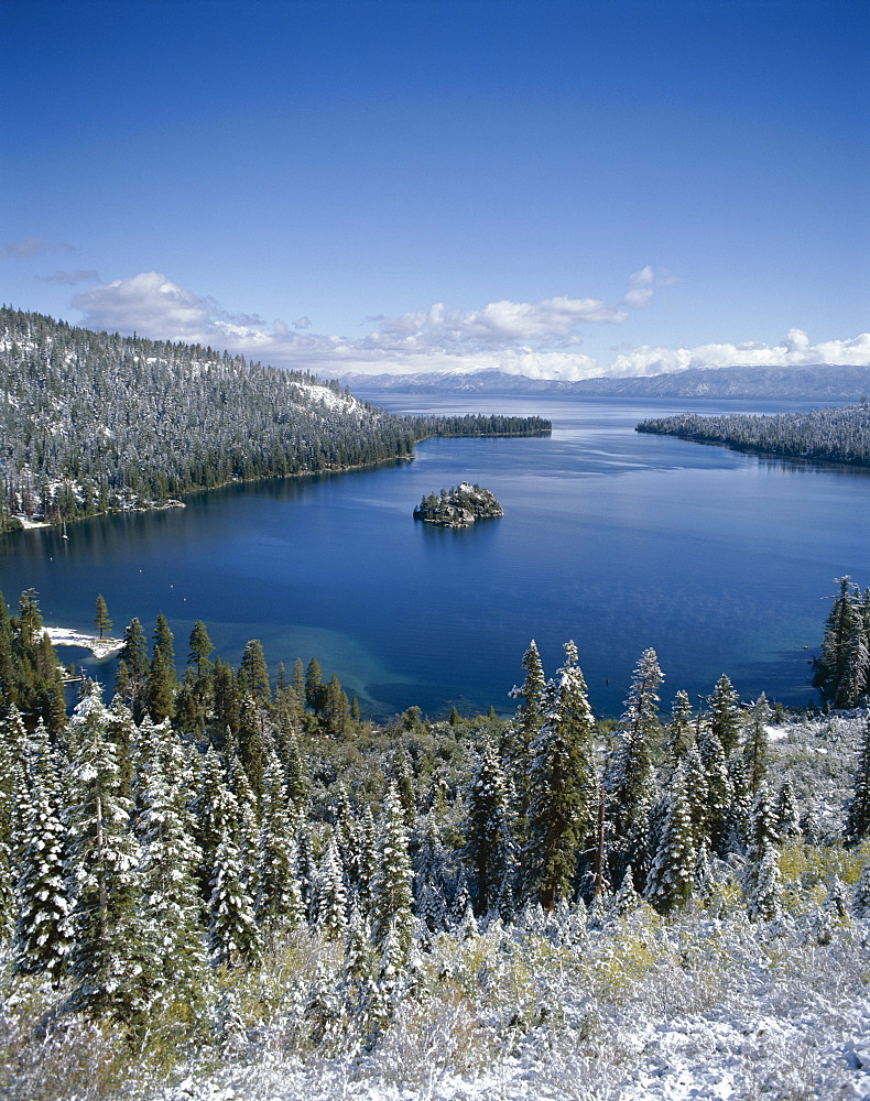 Emerald Bay with snow, Lake Tahoe, California, United States of America, North America