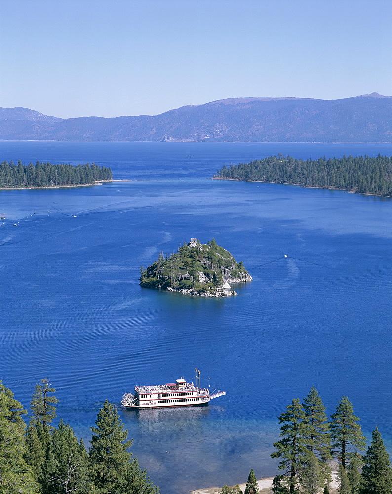 Emerald Bay and tour boat, Lake Tahoe, California, United States of America, North America