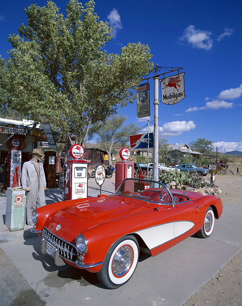 Route 66, Red Chevrolet Corvette 1957 Car at Gas Station, Hackberry, Arizona, United States of America, North America
