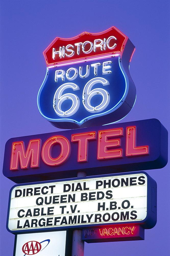 Route 66 Motel sign, Route 66, Seligman, Arizona, United States of America, North America