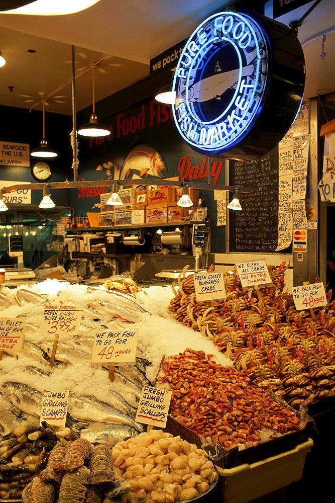Seafood stall, Pike Place Market, Seattle, Washington, United States of America, North America