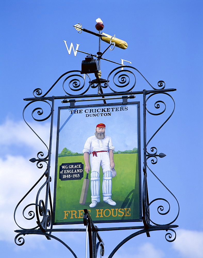 W. G. Grace featured on The Cricketers pub sign, Duncton, West Sussex, England, United Kingdom, Europe