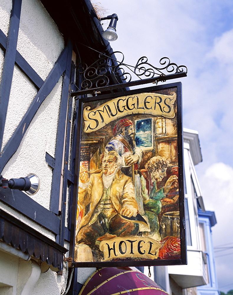 Smugglers Hotel pub sign, Newlyn, Cornwall, England, United Kingdom, Europe