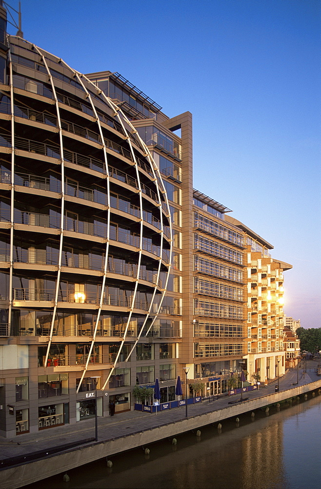 Modern riverfront buildings at Bankside, London, England, United Kingdom, Europe