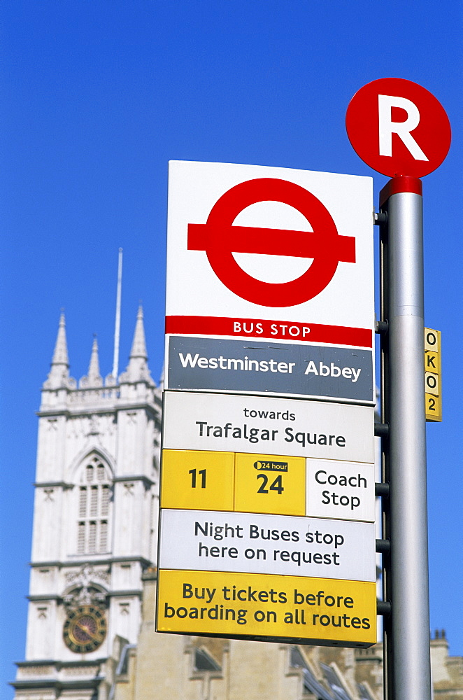 Bus stop sign near Westminster Abbey, London, England, United Kingdom, Europe