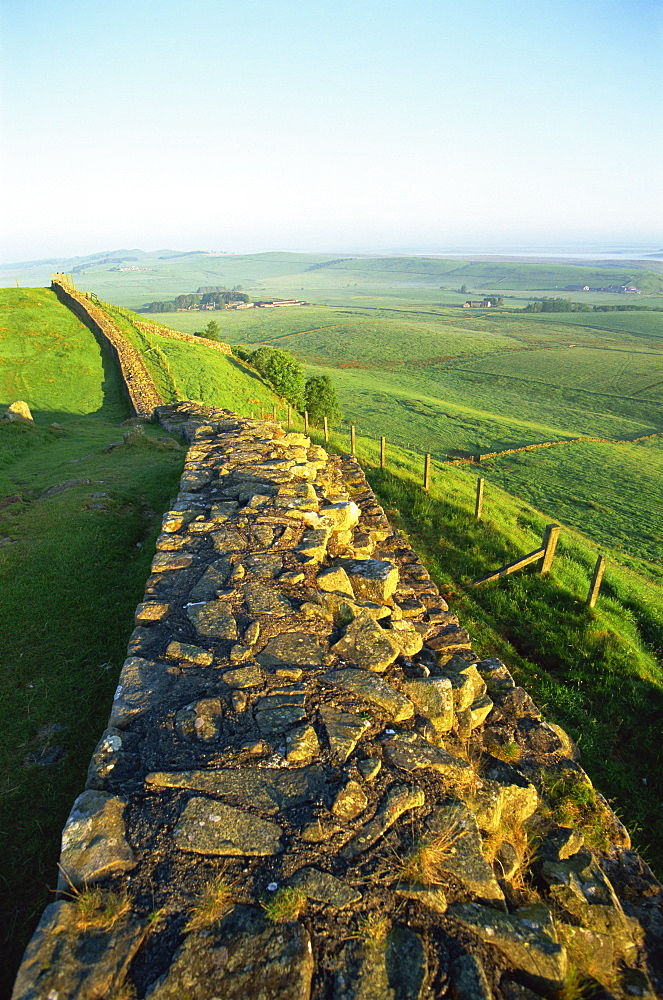 View near Housesteads Roman Fort, Hadrians Wall, UNESCO World Heritage Site, Northumberland, England, United Kingdom, Europe