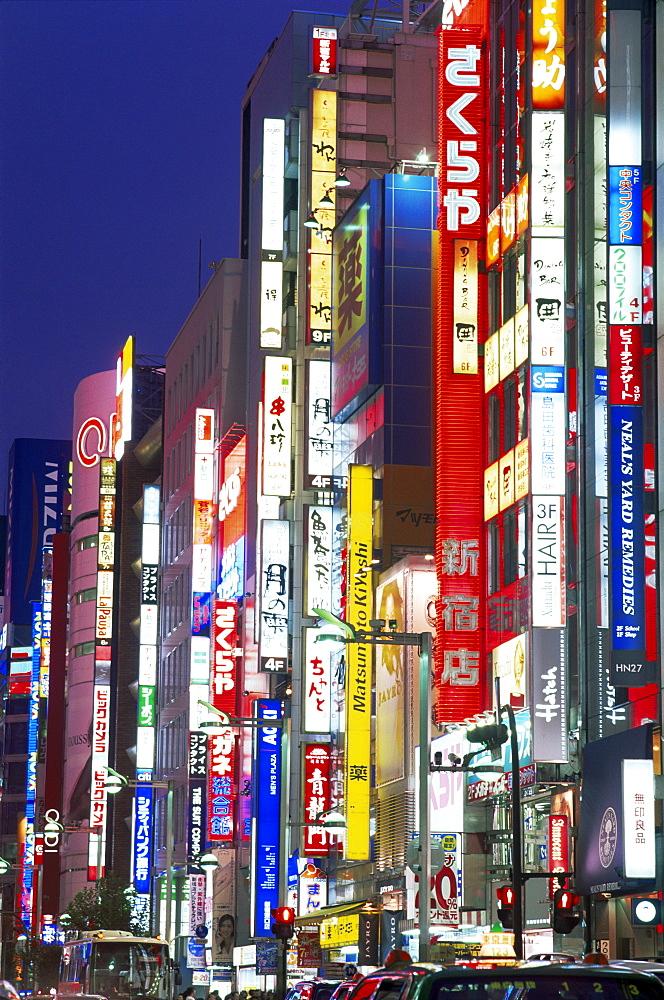 Lights at night on Shinjuku Dori, Shinjuku, Tokyo, Japan, Asia - 834-5267
