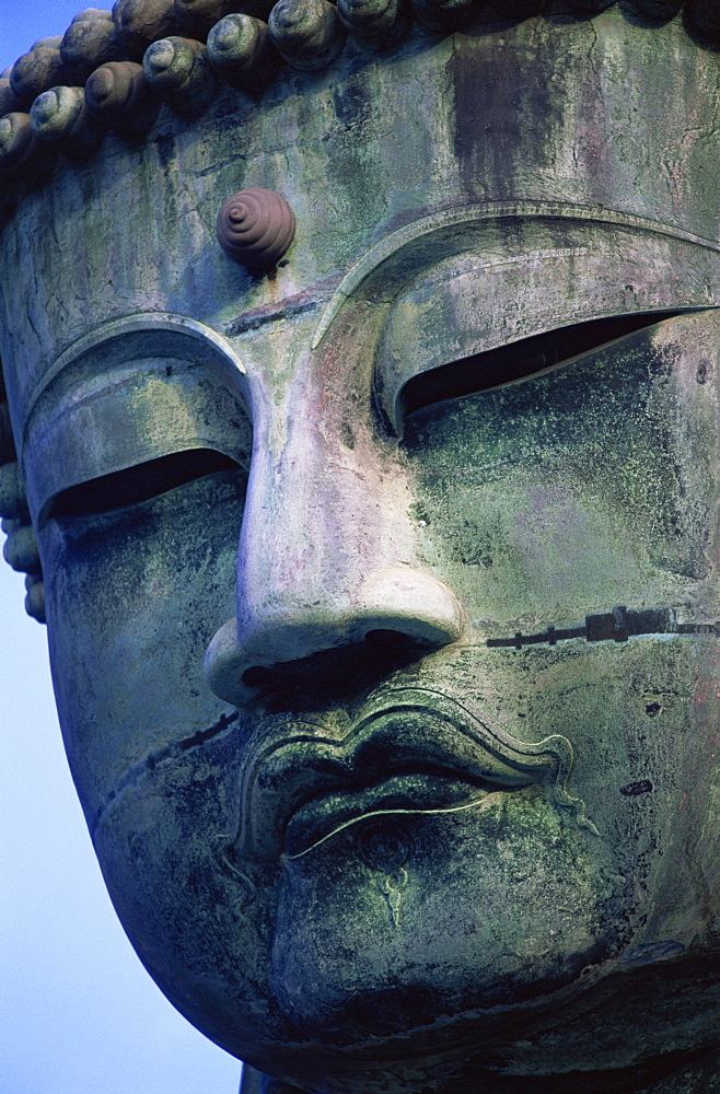 Detail of The Great Buddha's face, Daibutsu, Kamakura, Japan, Asia