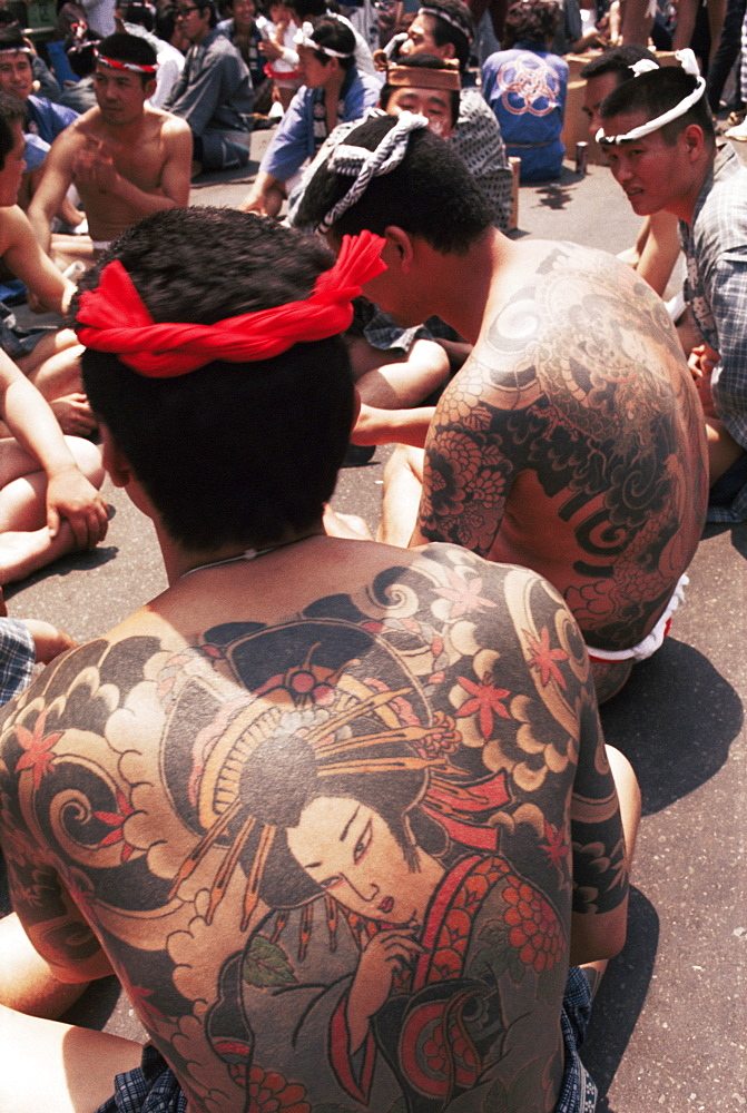 Tattooed Yakuza at Shrine Festival, Tokyo, Japan, Asia