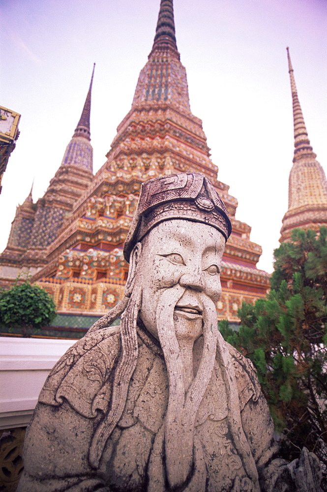 Statue and stupas in Wat Po, Bangkok, Thailand, Southeast Asia, Asia