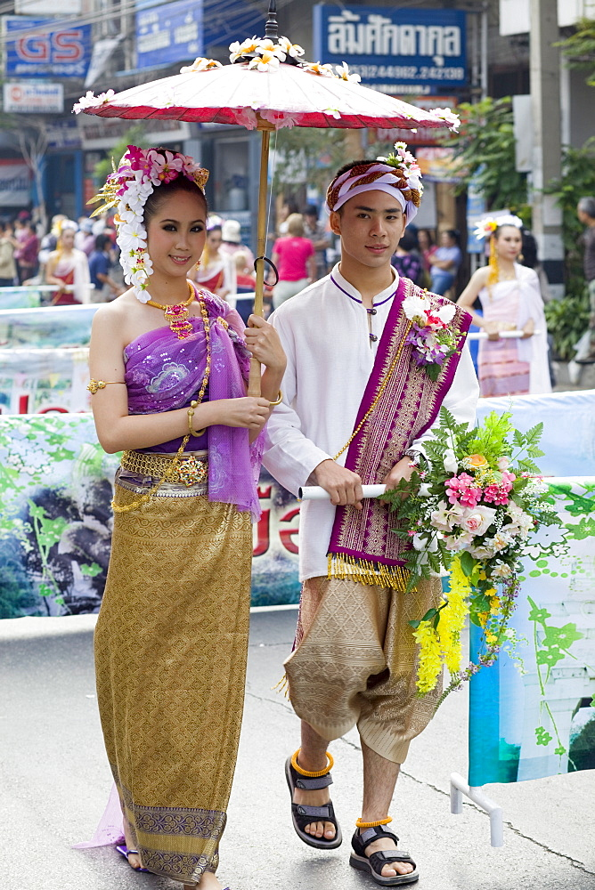 Couple in traditional Thai costume at the Chiang Mai Flower Festival, Chiang Mai, Thailand, Southeast Asia, Asia