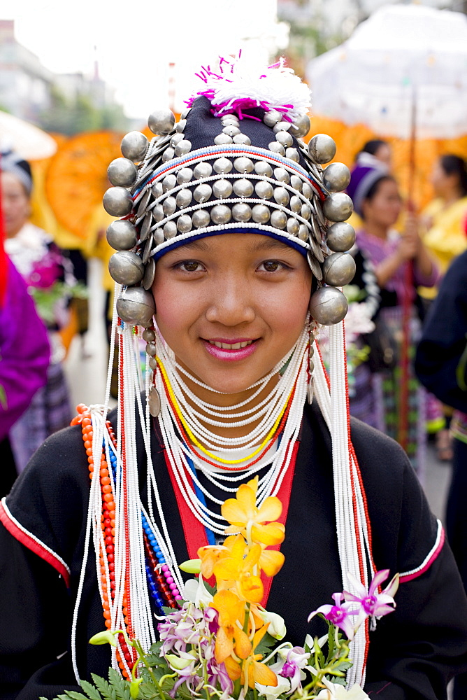 Akha hilltribe girl wearing traditional costume, Golden Triangle, Thailand, Southeast Asia, Asia