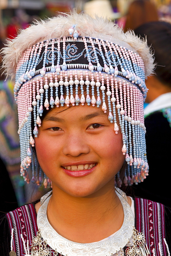 Hilltribe girl wearing traditional costume, Golden Triangle, Thailand, Southeast Asia, Asia