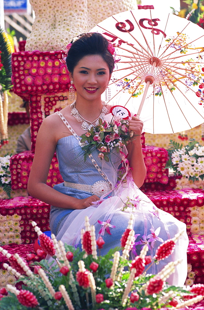 Young woman on a floral float, Flower Festival, Chiang Mai, Thailand, Southeast Asia, Asia