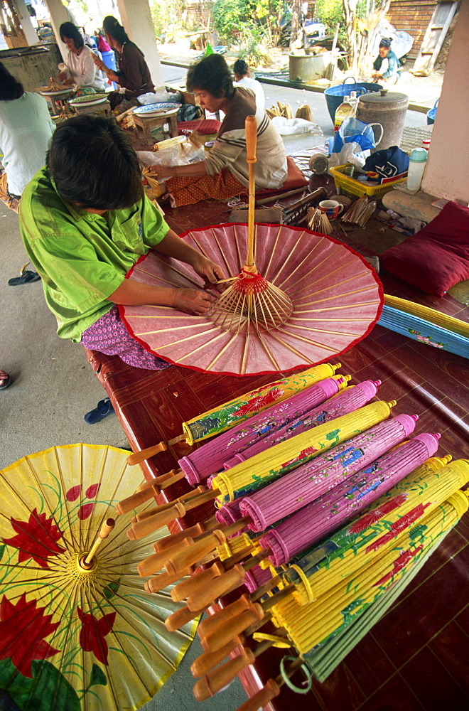 Umbrella making at Borsang Village, Chiang Mai, Thailand, Southeast Asia, Asia