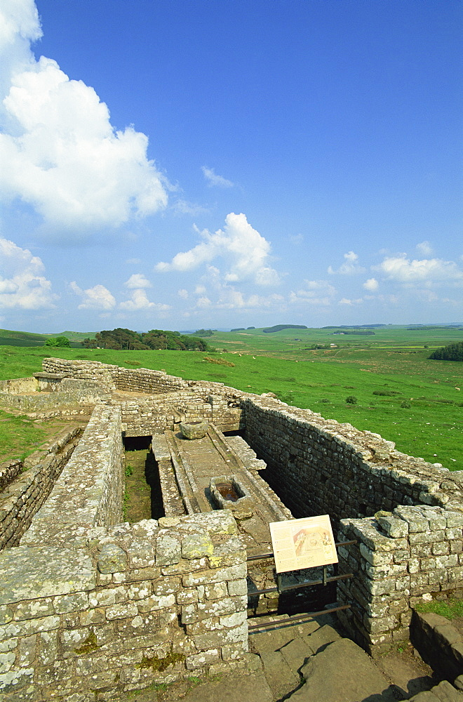 The latrines, Housesteads Roman Fort, Hadrians Wall, UNESCO World Heritage Site, Northumberland, England, United Kingdom, Europe