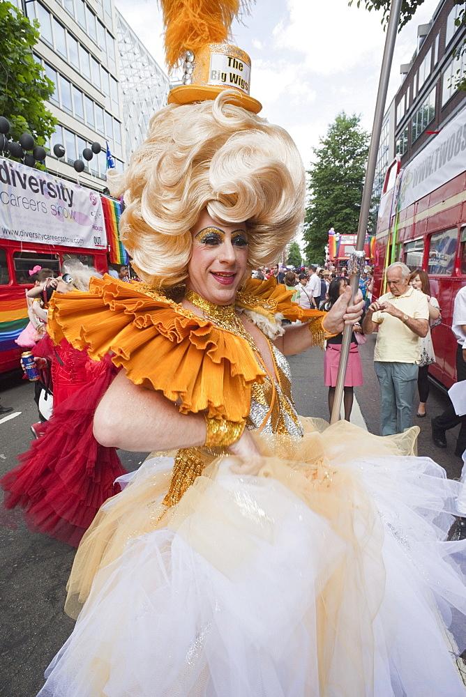 Drag queen, Gay Pride Festival, London, England, United Kingdom, Europe
