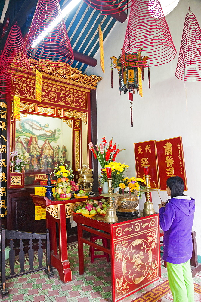 Interior of prayer hall showing Taoist gods and offerings, Phuc Kien Assembly Hall, Hoi An, Vietnam, Indochina, Southeast Asia, Asia