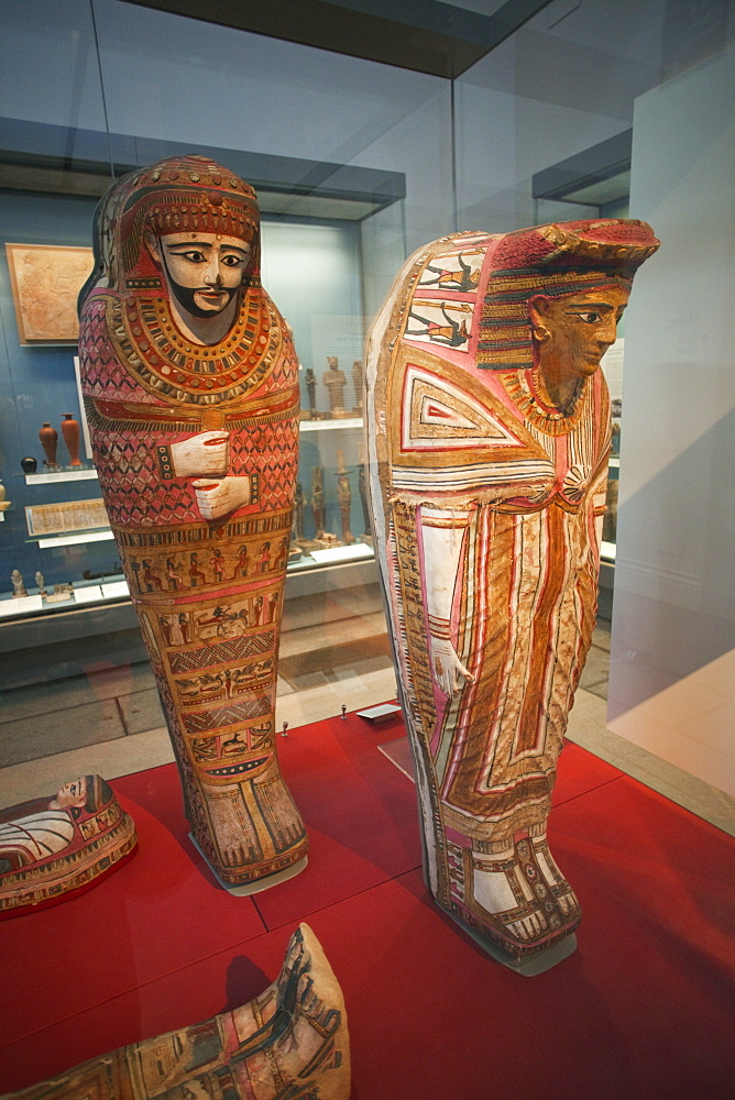 Egyptian painted coffins for mummies, British Museum, Bloomsbury, London, England, United Kingdom, Europe