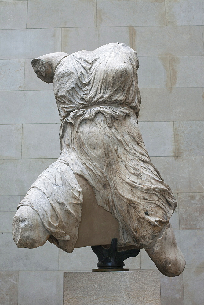 Elgin Marbles from the Parthenon in Athens showing torso of Iris dating from the 4th century BC, British Museum, Bloomsbury, London, England, United Kingdom, Europe