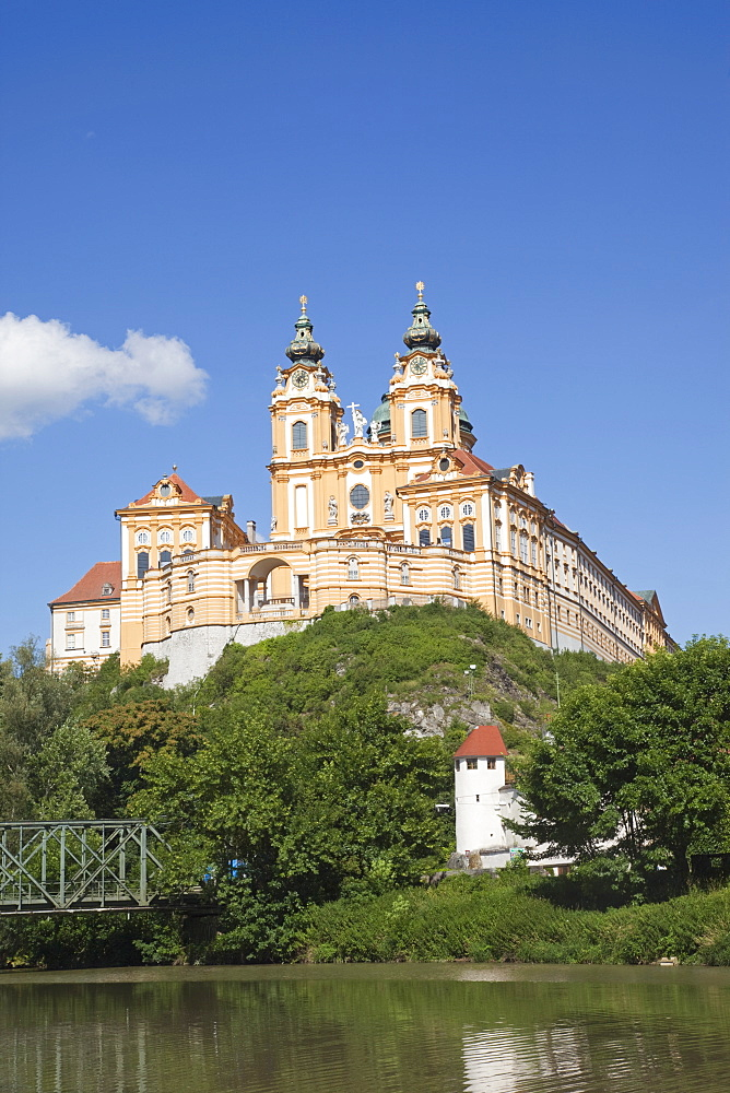 The Benedictine Abbey and River Danube, Melk, Wachau Cultural Landscape, UNESCO World Heritage Site, Austria, Europe - 834-7145