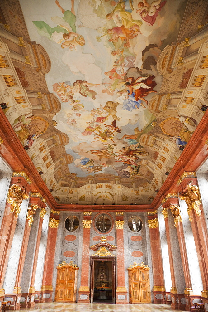 The Marble Hall showing the ceiling fresco by Paul Troger, Melk Abbey, Melk, Wachau Cultural Landscape, UNESCO World Heritage Site, Austria, Europe - 834-7147