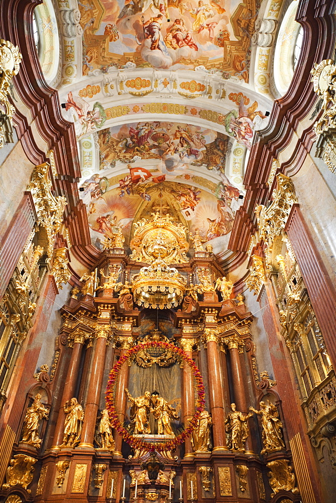 Interior of the Abbey Church, Melk Abbey, Melk, Wachau Cultural Landscape, UNESCO World Heritage Site, Austria, Europe - 834-7150