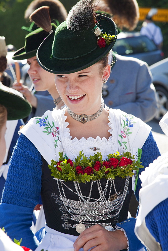 Girl in traditional Bavarian costume at Folklore Festival, Burghausen, Bavaria, Germany, Europe - 834-7180