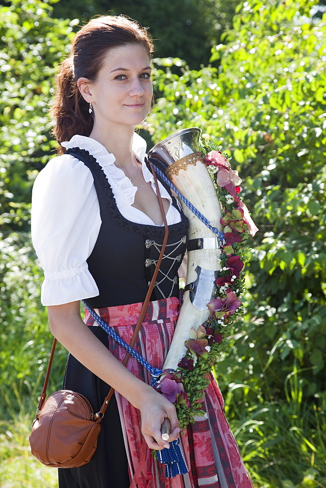 Girl in traditional Bavarian costume at Folklore Festival, Burghausen, Bavaria, Germany, Europe - 834-7183