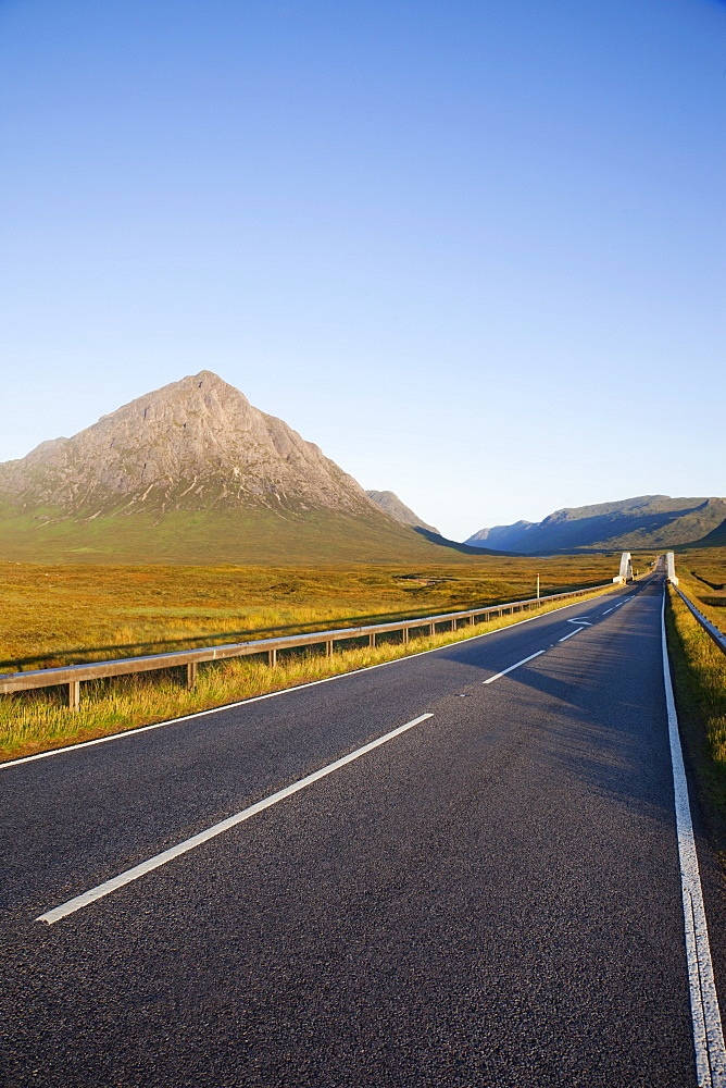 Empty road and Buchaille Etive Mor, Glen Coe, Highlands, Scotland, United Kingdom, Europe - 834-7216