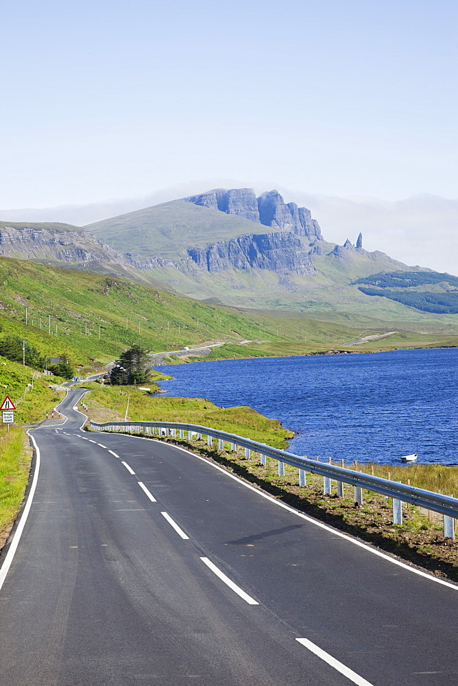 Road and Old Man of Storr mountain, Trotternish Peninsula, Isle of Skye, Inner Hebrides, Scotland, United Kingdom, Europe
