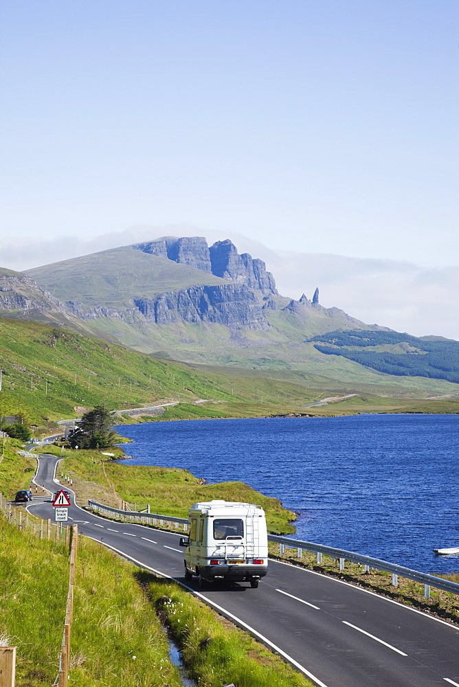 Camper on road and Old Man of Storr Mountain, Isle of Skye, Inner Hebrides, Scotland, United Kingdom, Europe
