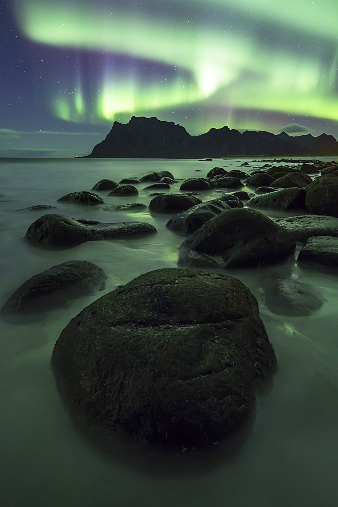 Aurora borealis (Northern Lights) over a mountain at Uttakleiv, Lofoten Islands, Arctic, Norway, Scandinavia, Europe