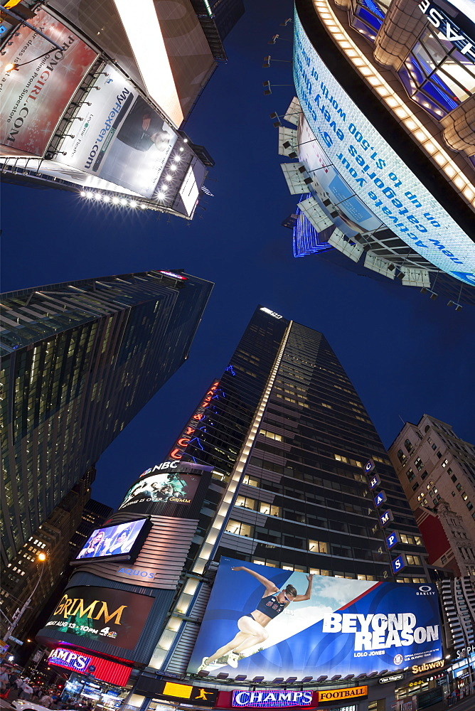Fisheye lens image of night time at Times Square in New York, New York State, United States of America, North America - 835-120